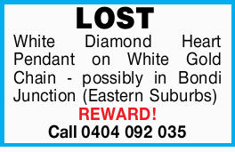 LOST White Diamond Heart Pendant on White Gold Chain - possibly in Bondi Junction (Eastern Suburb...