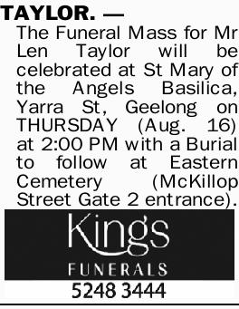 Browsing Funeral Notices   Rockhampton Classifieds   Morning