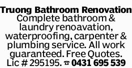 Truong Bathroom Renovation Complete bathroom & laundry renoavation, waterproofing, carpenter...
