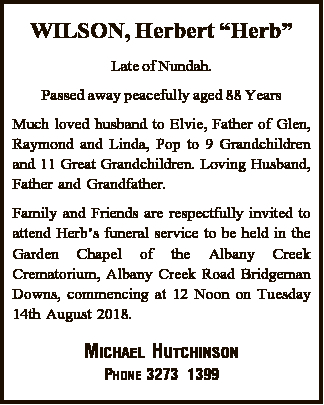 Late of Nundah. Passed away peacefully aged 88 Years   Much loved husband to Elvie, Father of...