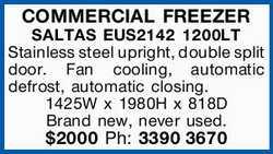 COMMERCIAL FREEZER   SALTAS EUS2142 1200LT   Stainless steel upright, double split door....