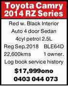 Toyota Camry 2014 RZ Series