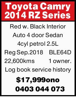Red with Black Interior   Auto 4 door Sedan   4cyl petrol 2.5L Reg Sep.2018BLE64D 22,600k...