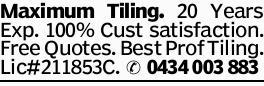 Maximum Tiling. 20 Years Exp. 100% Cust satisfaction. Free Quotes. Best Prof Tiling. Lic#211853C....