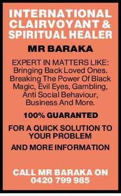 MR BARAKA EXPERT IN MATTERS LIKE: Bringing Back Loved Ones. Breaking The Power Of Black Magic, Ev...