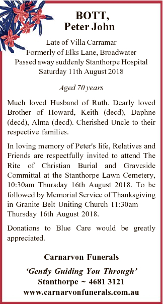 Late of Villa Carramar Formerly of Elks Lane, Broadwater   Passed away suddenly Stanthorpe Ho...