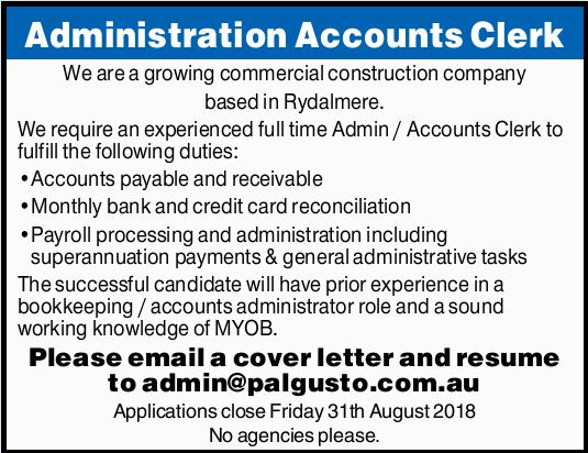 Administration Accounts Clerk