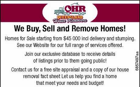 "<p align=""LEFT"" dir=""LTR""> <span lang=""EN-AU"">We Buy, Sell and Remove Homes!</span> </p>"