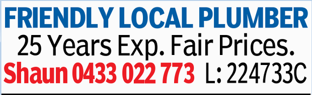 FRIENDLY LOCAL PLUMBER   25 Years Experience   Fair Prices   L: 224733C