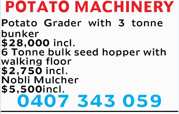 POTATO MACHINERY Potato Grader with 3 tonne bunker $28,000 incl. 6 Tonne bulk seed hopper with wa...