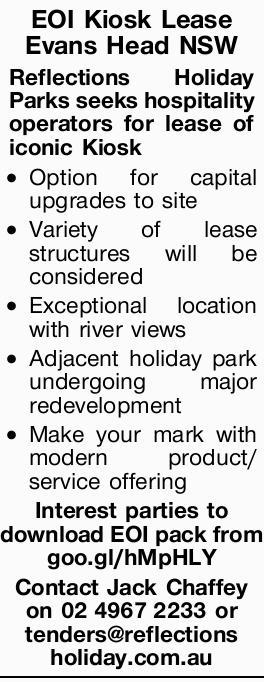 EOI Kiosk Lease Evans Head NSW  Reflections Holiday Parks seeks hospitality operators for lea...