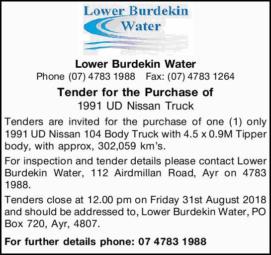 Lower Burdekin Water   Phone (07) 4783 1988 Fax: (07) 4783 1264      Tender for...