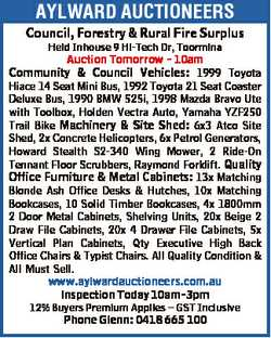 AYLWARD AUCTIONEERS Council, Forestry & Rural Fire Surplus Held Inhouse 9 Hi-Tech Dr, Toormina A...