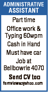 ADMINISTRATIVE ASSISTANT Part time Office work & Typing 60wpm Cash in Hand Must have car Job at Bellbowrie 4070 Send CV to fernviews yahoo.com