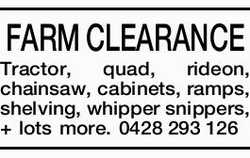 FARM CLEARANCE Tractor, quad, rideon, chainsaw, cabinets, ramps, shelving, whipper snippers, + lo...
