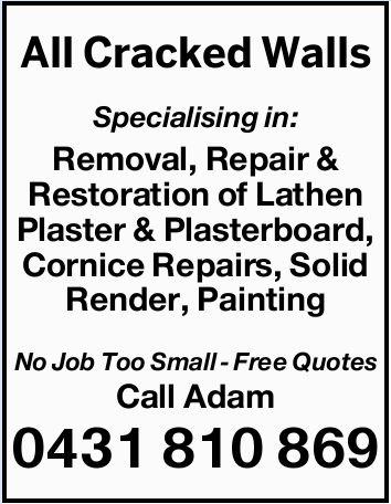Specialising in:    Removal, Repair & Restoration of Lathen Plaster & Plasterboard...