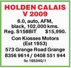 HOLDEN CALAIS V 2009