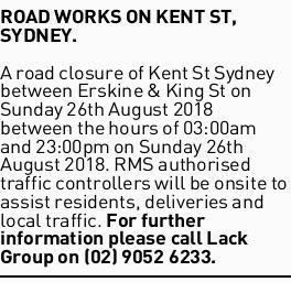 ROAD WORKS ON KENT ST, SYDNEY. A road closure of Kent St Sydney between Erskine & King St on...