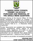 FLINDERS SHIRE COUNCIL TENDER 102.2018.22 PURCHASE AND REMOVAL OF THE SINGLE MENS QUARTERS