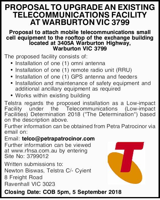 PROPOSAL TO UPGRADE AN EXISTING TELECOMMUNICATIONS FACILITY AT WARBURTON VIC 3799   Proposal...
