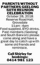 PARENTS WITHOUT PARTNERS GEELONG 50TH REUNION CELEBRATION