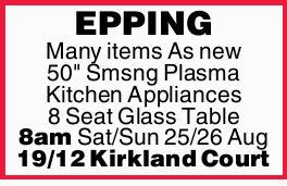 "8am   Many itmes As new   50"" Samsung Plasma TV   Kitchen Appliances..."