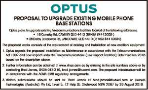 PROPOSAL TO UPGRADE EXISTING MOBILE PHONE BASE STATIONS Optus plans to upgrade existing...