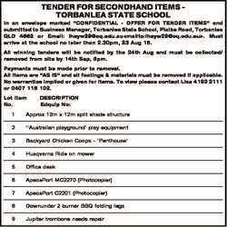 """TENDER FOR SECONDHAND ITEMS TORBANLEA STATE SCHOOL In an envelope marked """"CONFIDENTIAL - OFFER..."""