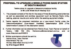 PROPOSAL TO UPGRADE A MOBILE PHONE BASE STATION AT SOUTH MACKAY Telstra plans to upgrade a telecommu...
