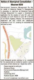 Notice of Aboriginal Consultation – Moonee NSW