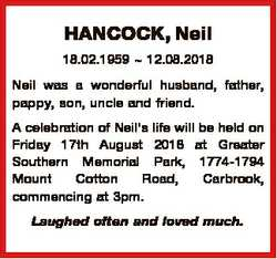 HANCOCK, Neil 18.02.1959  12.08.2018 Neil was a wonderful husband, father, pappy, son, uncle and fri...