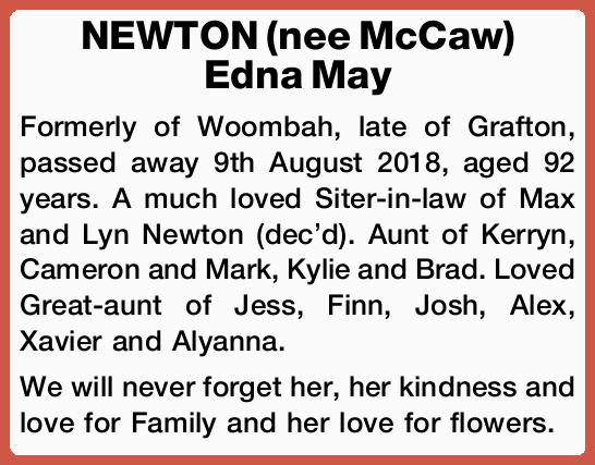 Formerly of Woombah, late of Grafton, passed away 9th August 2018, aged 92 years.