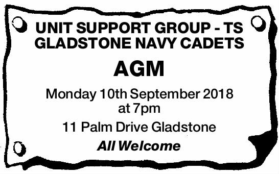 Monday 10th September 2018 at 7pm   11 Palm Drive Gladstone   All Welcome