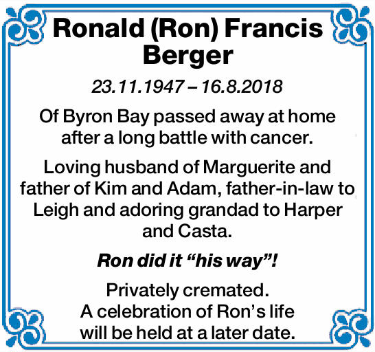 23.11.1947 – 16.8.2018