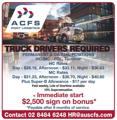PERMANENT & CASUAL POSITIONS   HC/MC - FCL, Tautliner   HC Rates   Day - $28.18,...