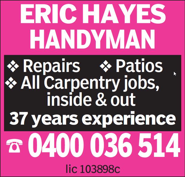 Eric is a licensed builder/carpenter    Repairs  Alterations  Decks  Patios...