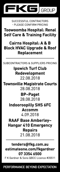 SUCCESSFUL CONTRACTORS – PLEASE CONFIRM PRICING   Toowoomba Hospital: Renal Self Care &...