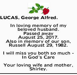 Lucas George Alfred Condolences Notices Mackay Daily Mercury