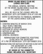 BRIBIE ISLAND BOWLS CLUB INC (LADIES SUB CLUB) THE ANNUAL GENERAL MEETING