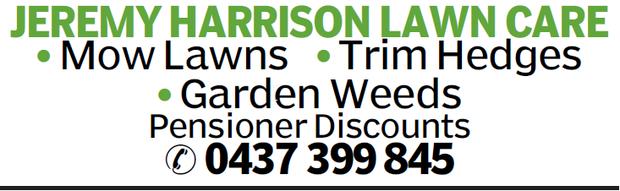 JEREMY HARRISON LAWN CARE Mow Lawns Trim Hedges Garden Weeds Pensioner Discounts