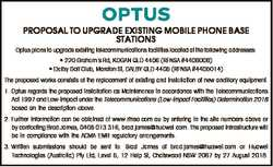 PROPOSAL TO UPGRADE EXISTING MOBILE PHONE BASE STATIONS Optus plans to upgrade existing telecommunic...