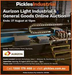 Aurizon Light Industrial & General Goods Online Auction Ends: 27 August at 12pm Under instructio...