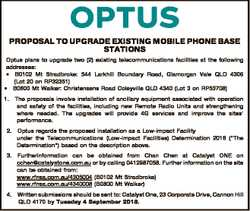 PROPOSAL TO UPGRADE EXISTING MOBILE PHONE BASE STATIONS Optus plans to upgrade two (2) existing tele...