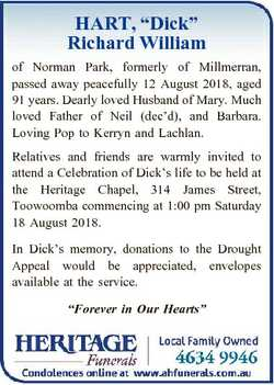 """HART, """"Dick"""" Richard William of Norman Park, formerly of Millmerran, passed away peacefull..."""
