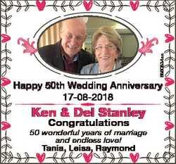 6860834aa Happy 50th Wedding Anniversary 17-08-2018 Ken & Del Stanley Congratulations 50 wonderf...