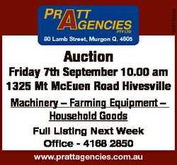 6861054aa 80 Lamb Street, Murgon Q. 4605 Auction Friday 7th September 10.00 am 1325 Mt McEuen Road H...