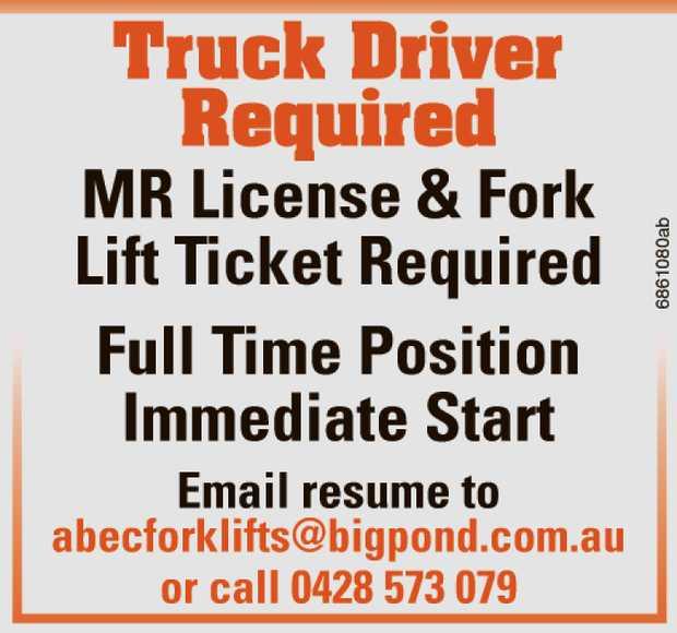 MR License & Fork   Lift Ticket Required   Full Time Position Immediate Start   E...