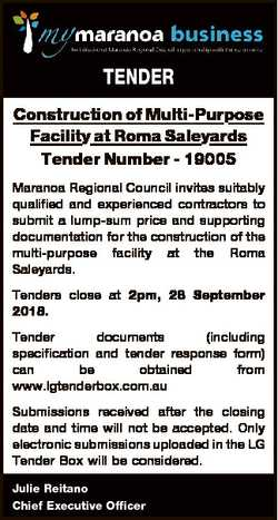 TENDER   Construction of Multi-Purpose Facility at Roma Saleyards   Tender Number - 19005...