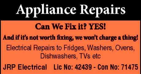 "<p align=""LEFT"" dir=""LTR""> <span lang=""EN-AU"">Appliance Repairs</span> </p>"