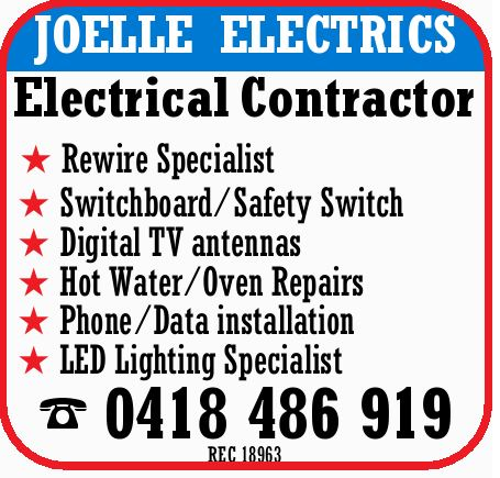 JOELLEELECTRICS   Electrical Contractor   Rewire Specialist   Switchboard/Safety Swit...